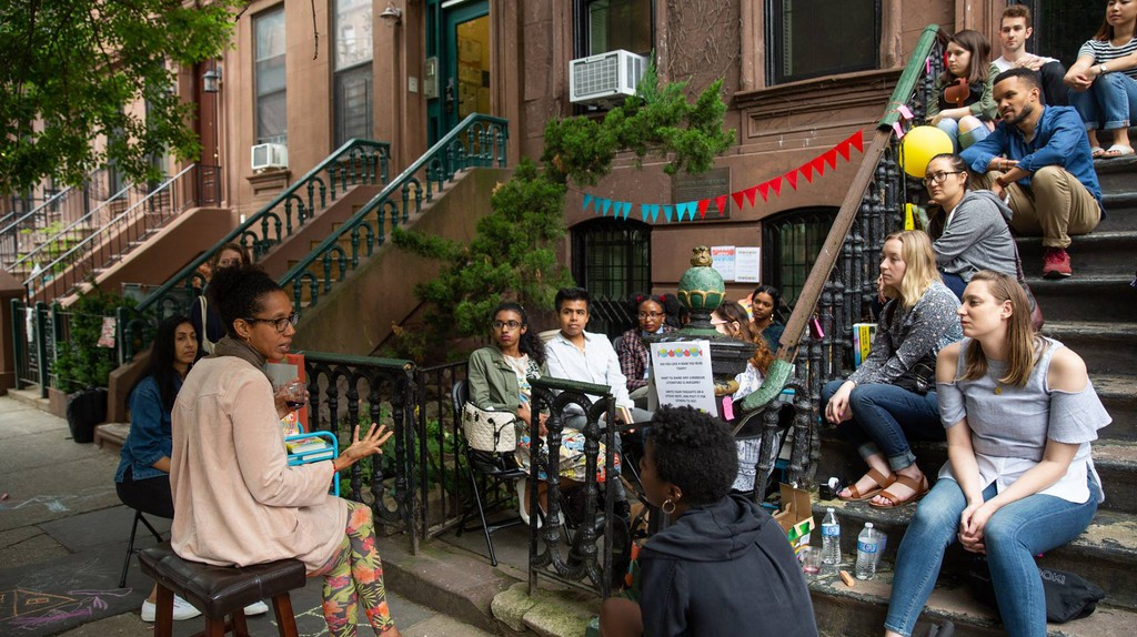June's Pop-Up Reading Room was heald outside of the Langston Hughes House.