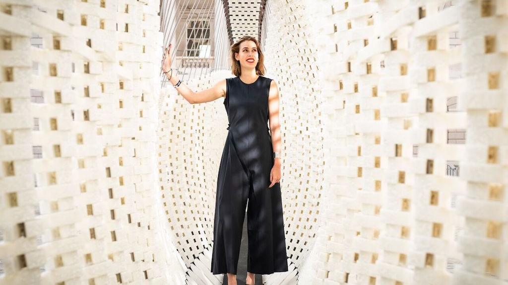 Designer Nassia Inglessis with her installation from Greece at London Design Biennale 2018, which takes over the entirety of Somerset House in London.