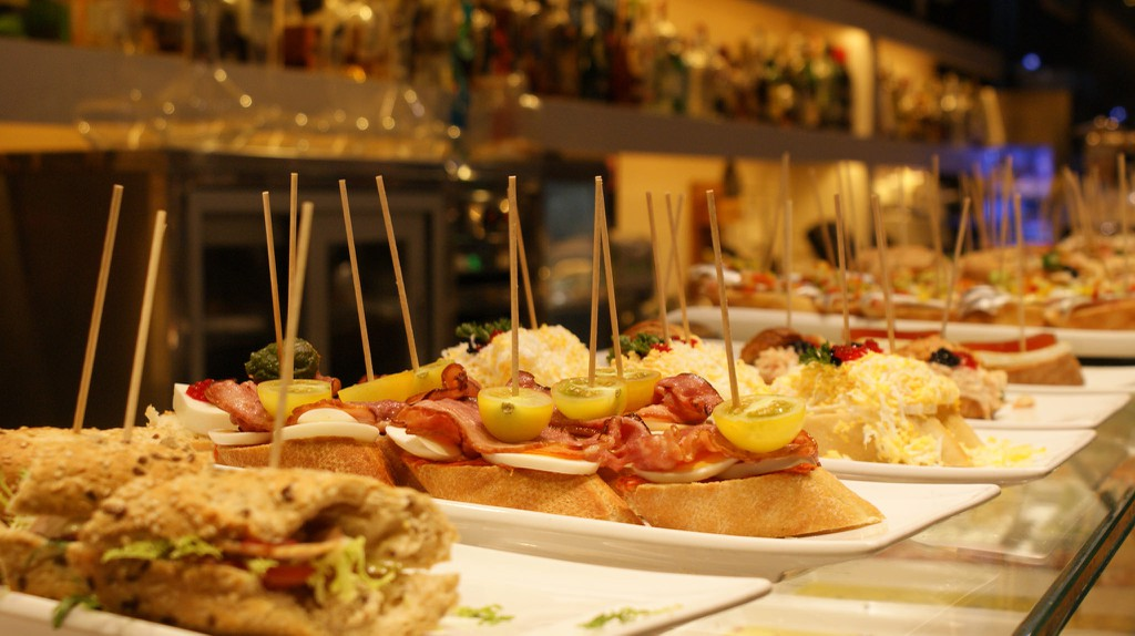 A selection of classic pintxos in Barcelona