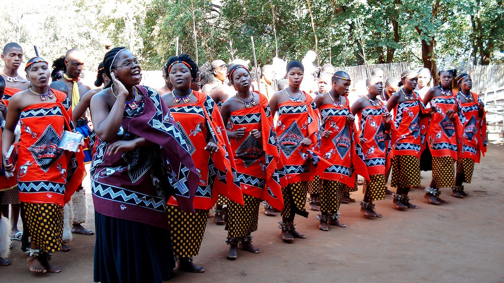Swazi women in traditional attire