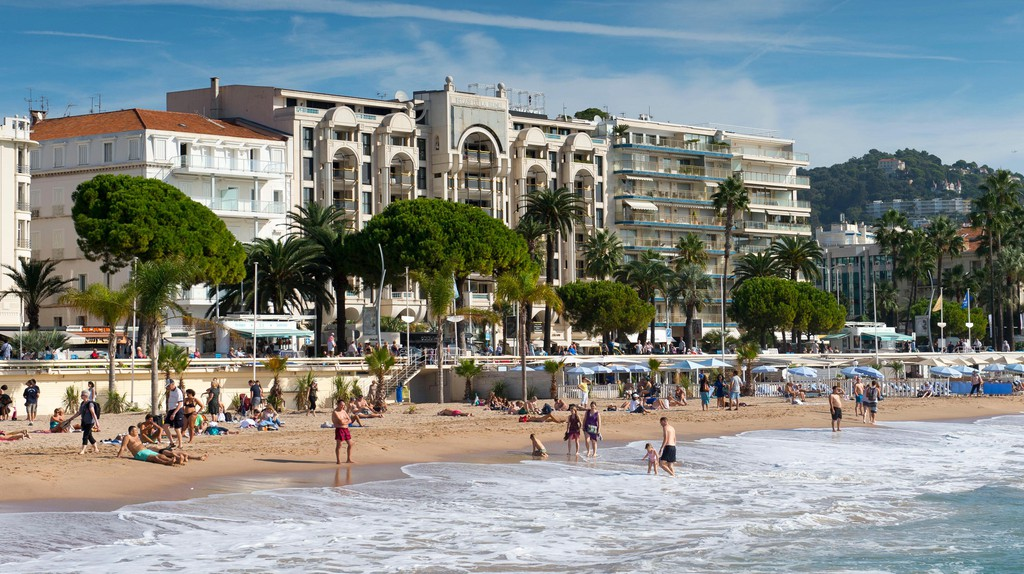 The main beach in Cannes, South of France.