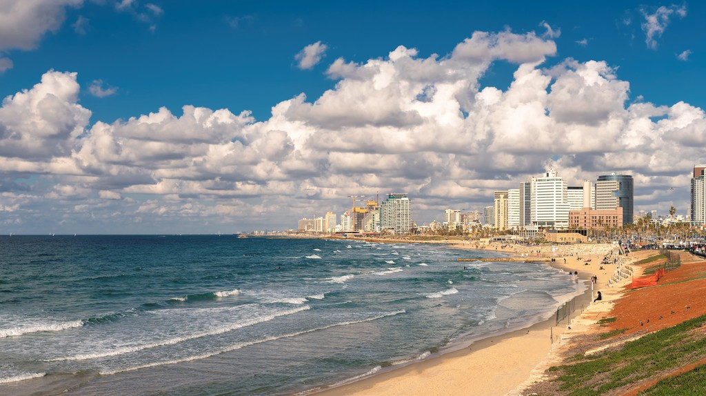 Tel Aviv coast with a view of Mediterranean sea and skyscrapers, Israel.