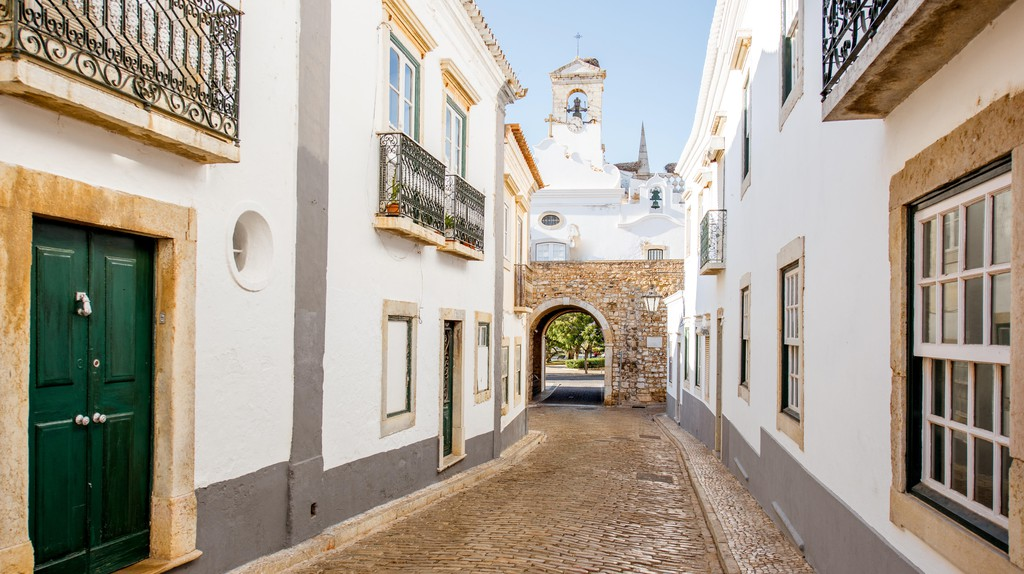 Street view of Faro, Portugal