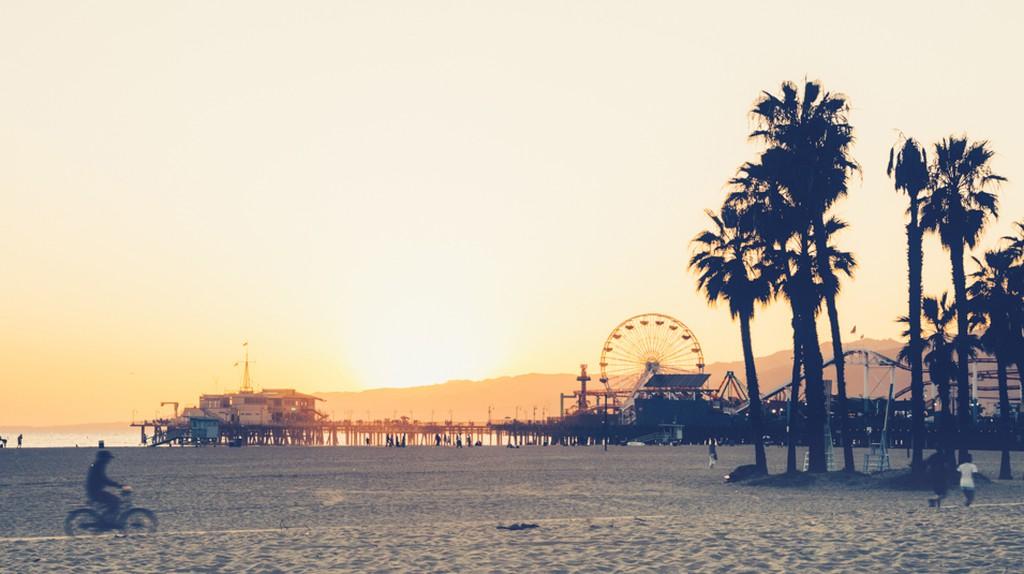Sunset at Santa Monica beach