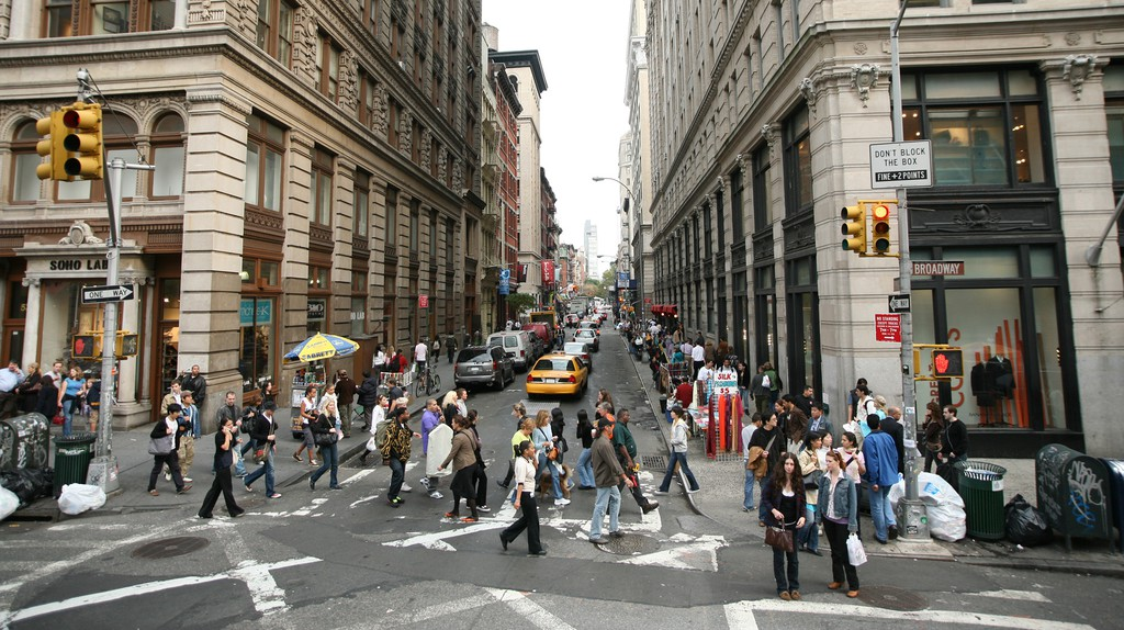 Spring Street and Broadway in SoHo, Manhattan