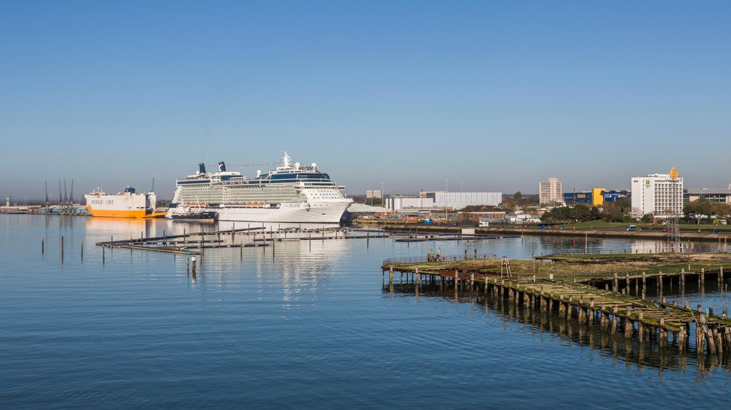 Southampton's waterfront shines on a clear day.