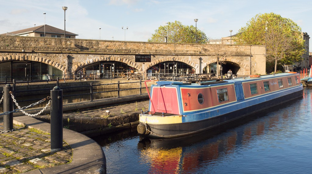 Victoria Quays in Sheffield sparkles in the sunlight.
