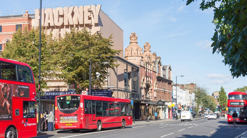 The Hackney Empire Theatre on Mare Street, Hackney Central, London, shines on a clear day.