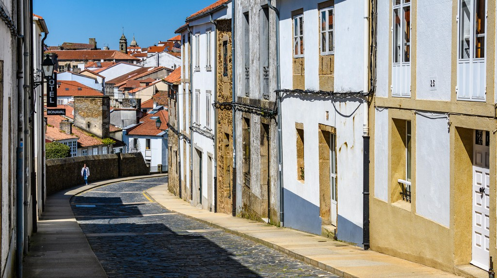 Empty street in Old Town Santiago de Compostela, Galicia, Spain
