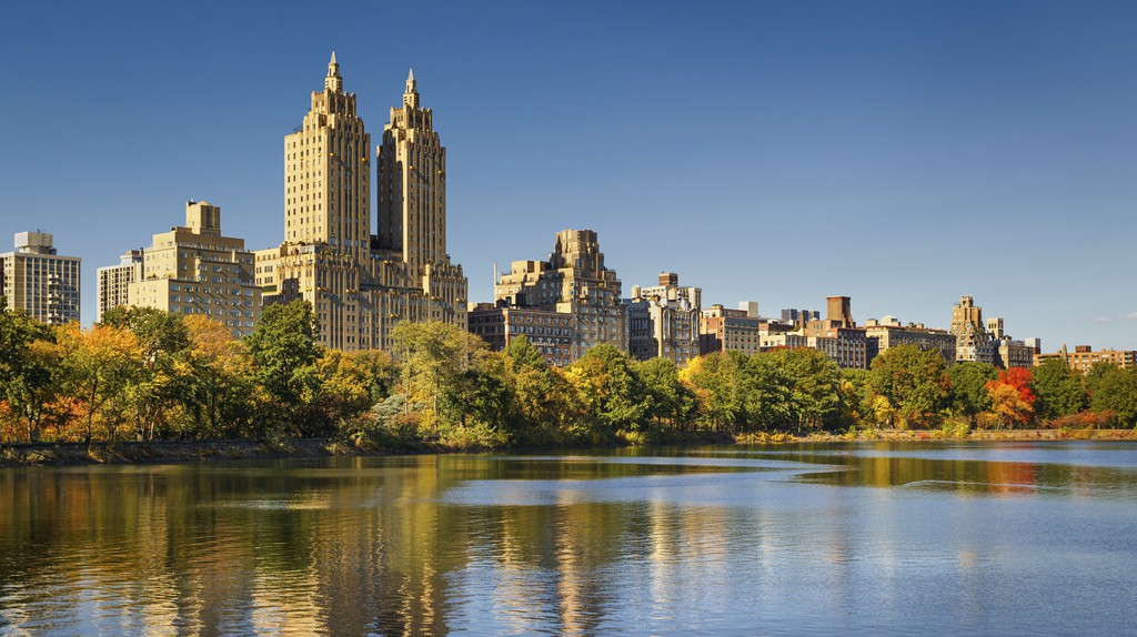 The Jacqueline Kennedy Onassis Reservoir in Central Park glistens in afternoon light
