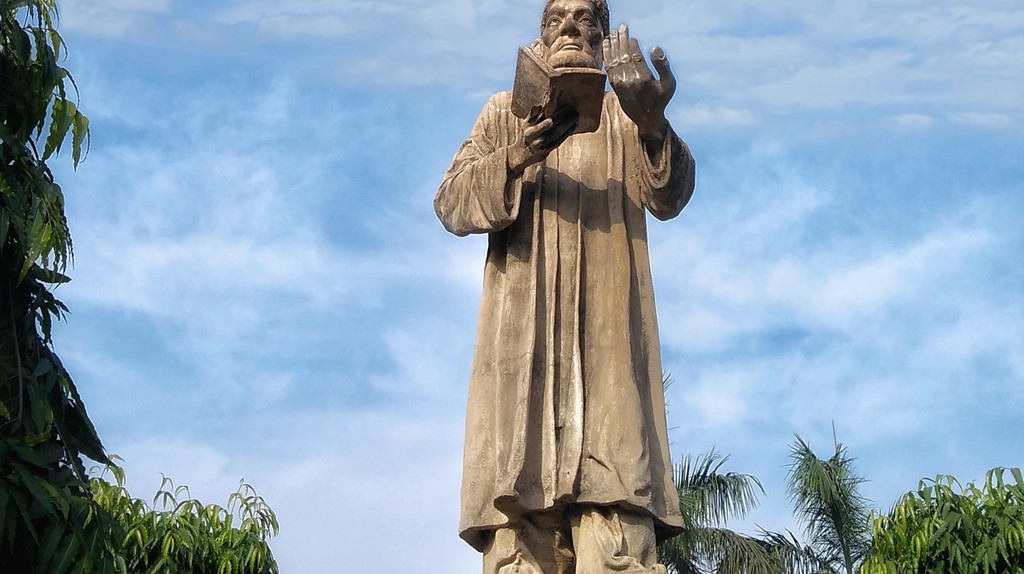 This statue of Mirza Ghalib stands in New Delhi
