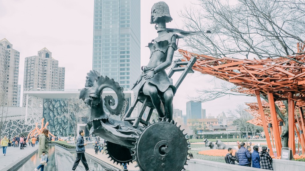 The Jing'an Sculpture Park is the only sculpture park in the central area of Shanghai