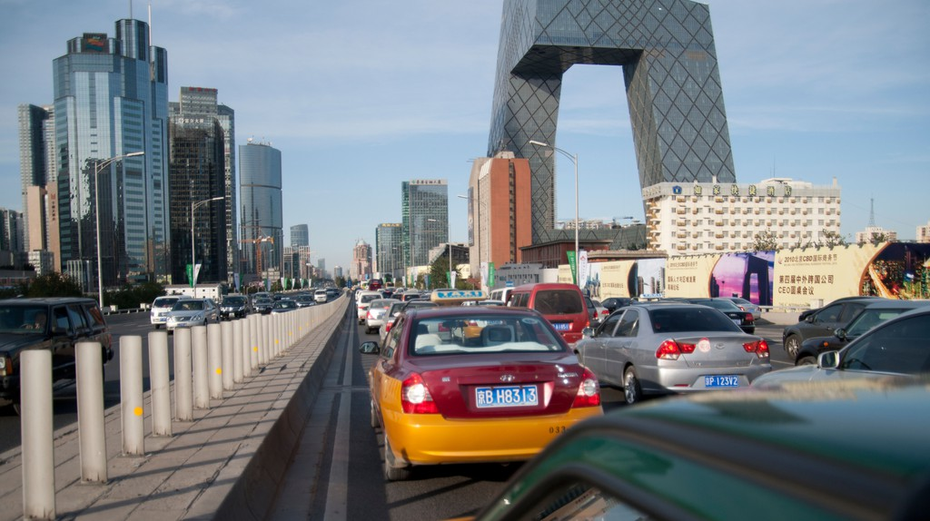 Traffic travels through Beijing's Central Business District