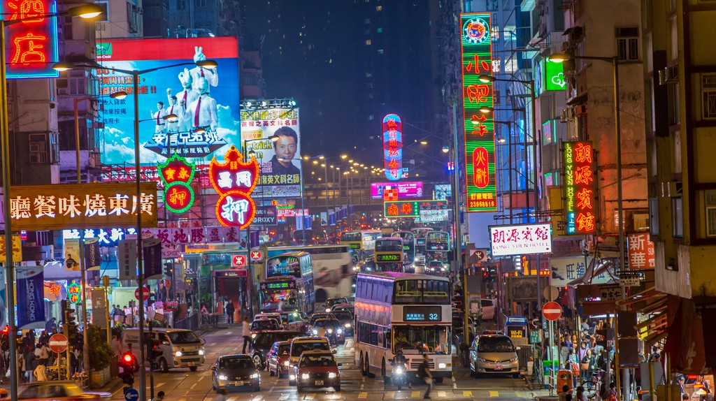 Street scene in Mong Kok, Hong Kong.