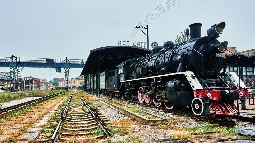 Ancient train steam engine, at Ace Cafe, in the 798 Art District zone
