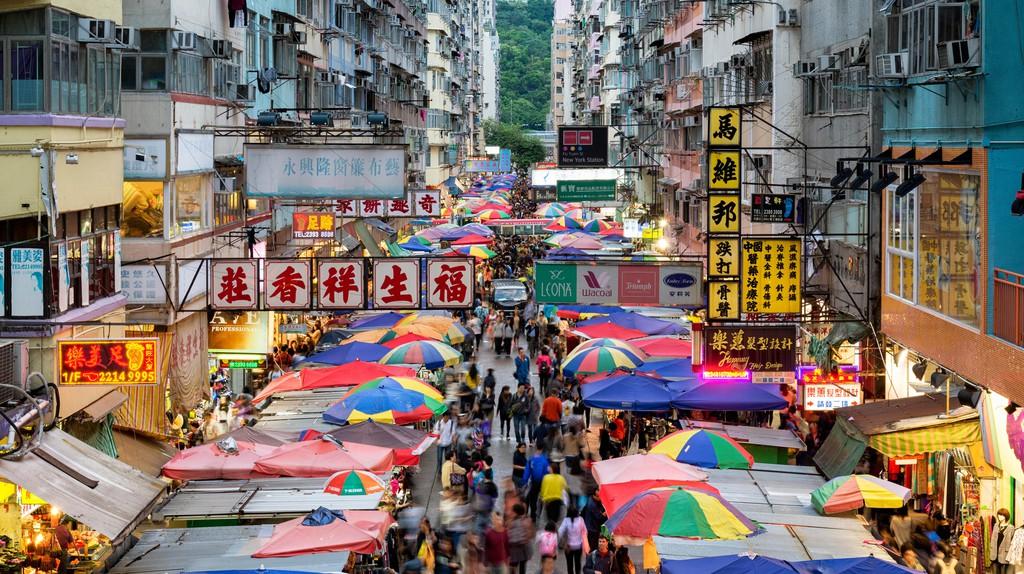 Busy street market at Fa Yuen Street in Mong Kok area of Kowloon, Hong Kong