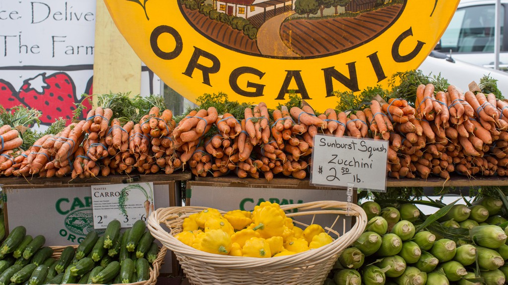 Organic produce is on display at the farmers' market at the Ferry Building in San Francisco