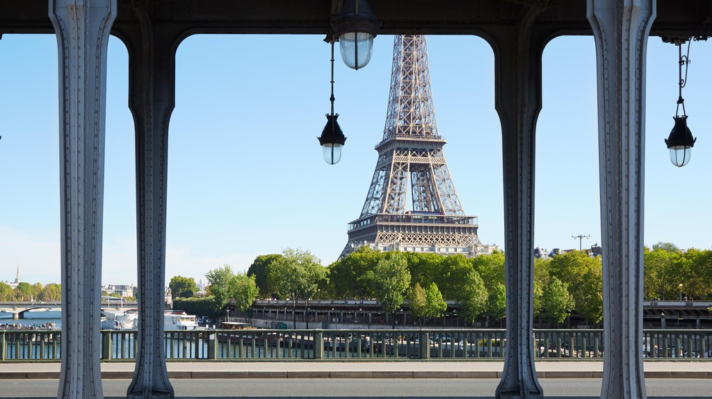Catch a view of the Eiffel Tower from the Bir-Hakeim Bridge in Paris