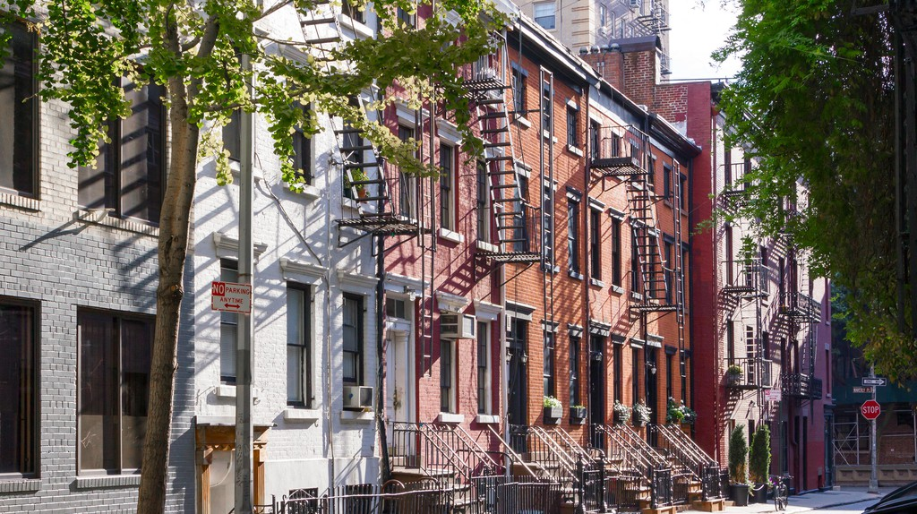 It's a sunny day in the Greenwich Village neighborhood of Manhattan, New York City