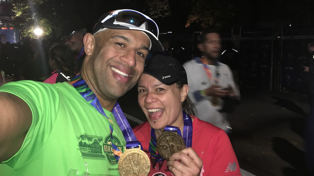 Yasir Salem with his late wife Gweneviere Mann after a marathon