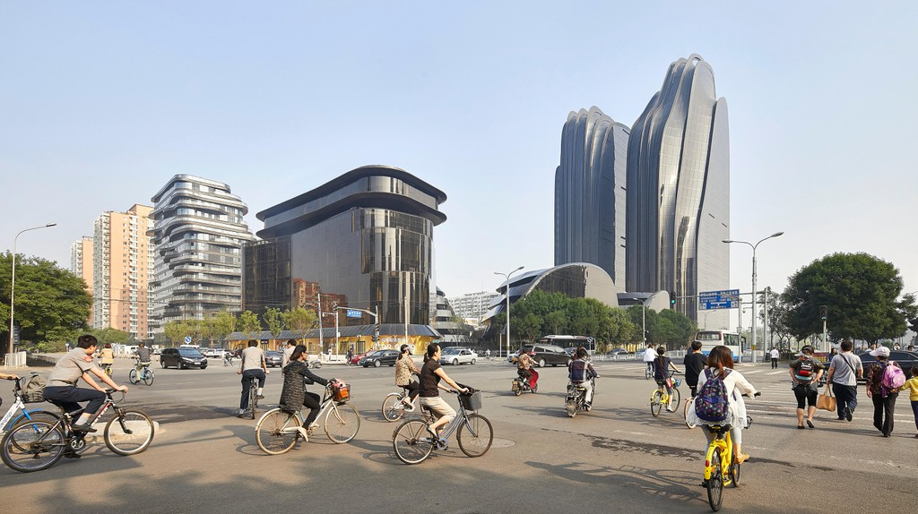 Street view of Beijing with Chaoyang Park Plaza