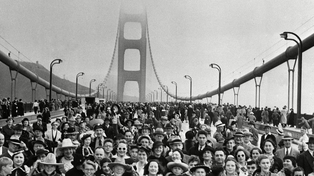 Thousands hike across the Golden Gate Bridge at its opening on May 27 1937
