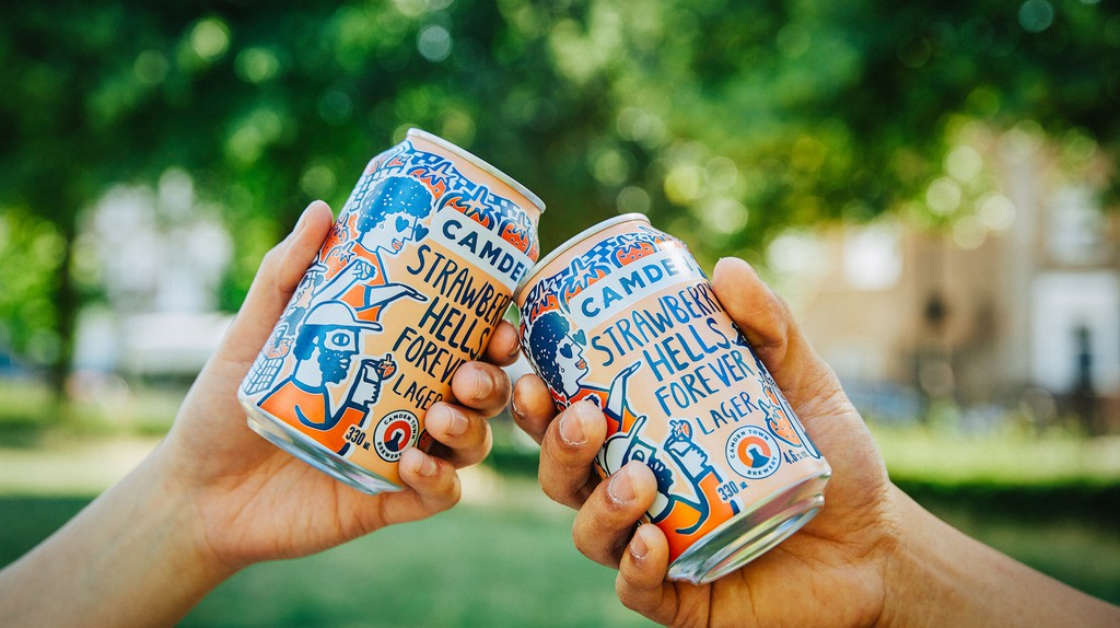 Camden Town Brewery's seasonal Strawberry Hells Forever features artwork by Alice Bowsher