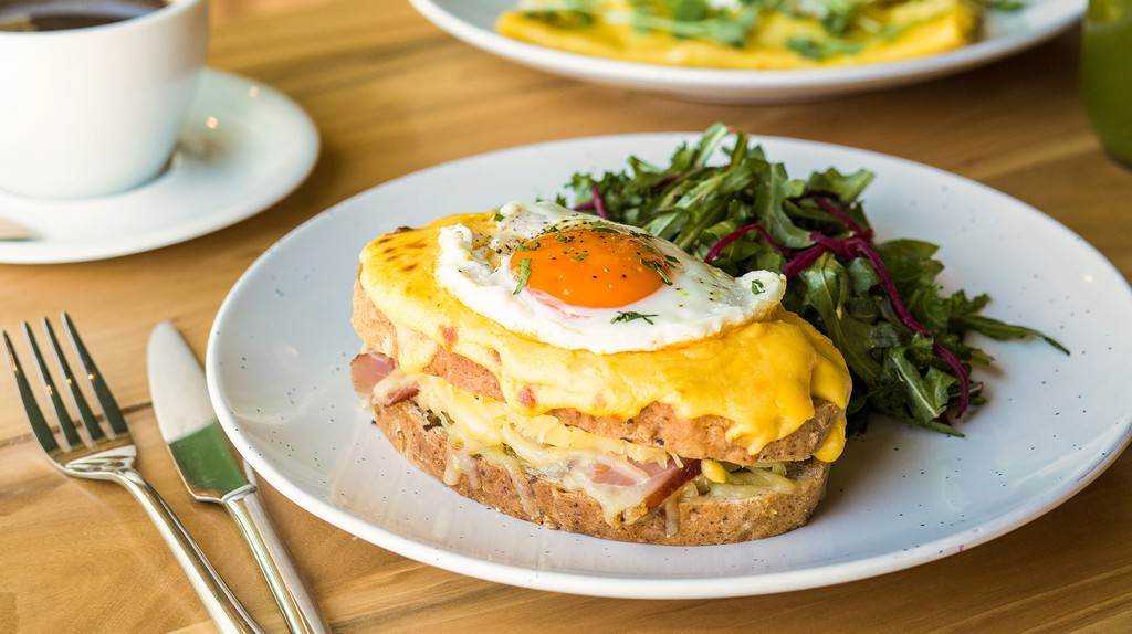 A hearty croque madame grilled sandwich at Tribe Restaurant in Beijing