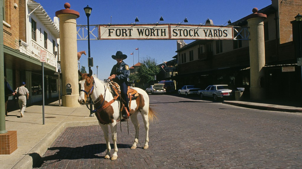 A policeman on horseback in the historic Stockyard District of Fort Worth, Texas