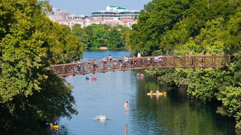 Bridge Jumping in Zilker Park, Austin, Texas.