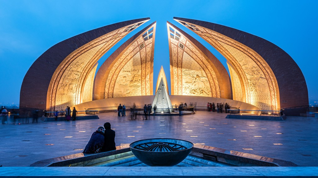 The Pakistan Monument, a landmark in Islamabad, represents four provinces of Pakistan