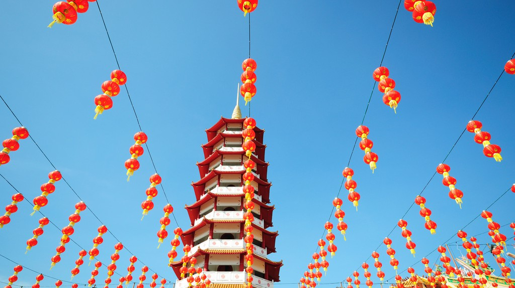 Chinese pagoda and lanterns during Chinese new year