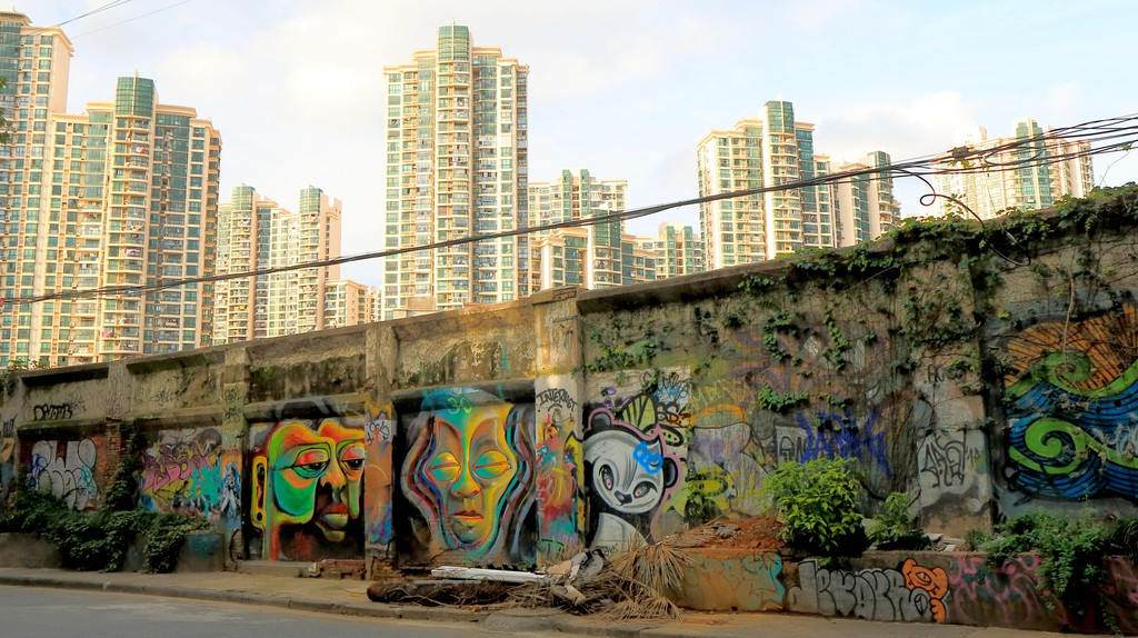 You'll find lots of expressive graffiti on Moganshan Road in Shanghai, China