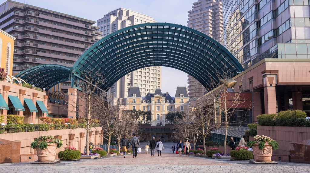 People take a stroll through the Yebisu Garden Place, Tokyo