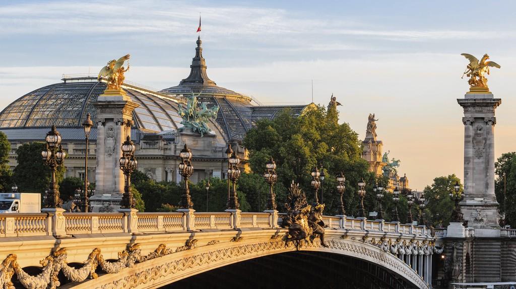 The Alexander III Bridge in Paris spans the Seine