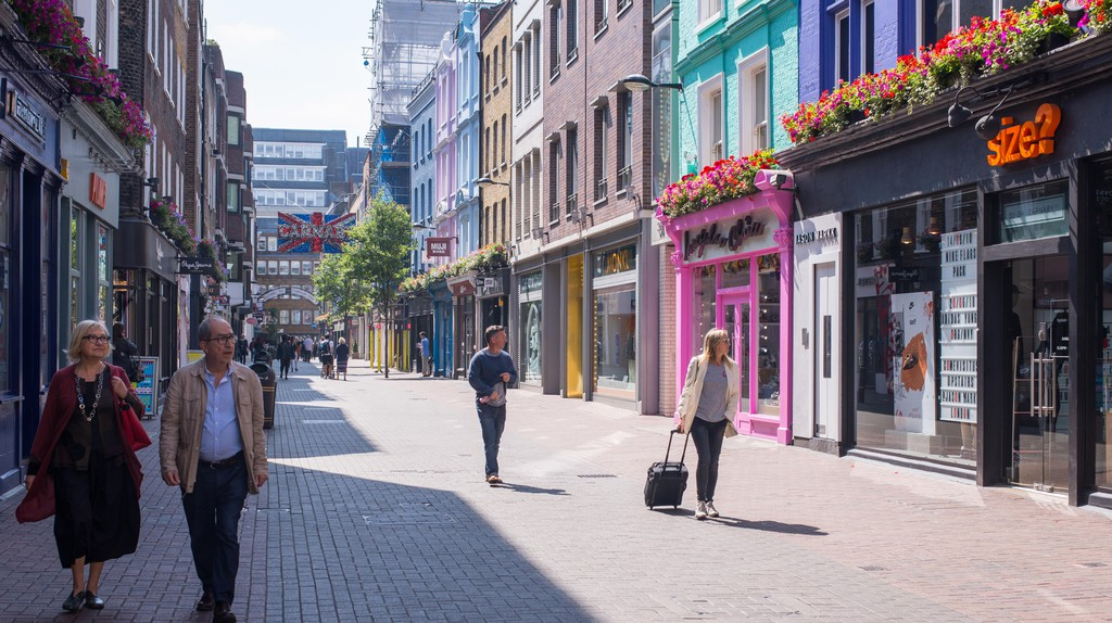 Soho's Carnaby Street is lined with clothes shops