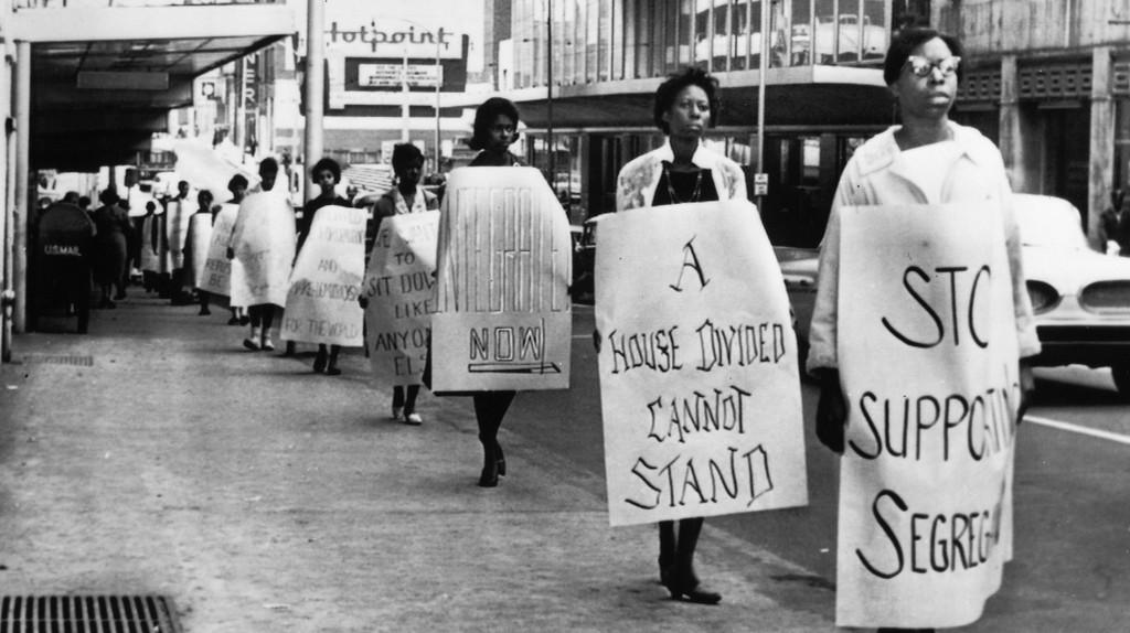 Civil rights protesters march in Atlanta in 1960