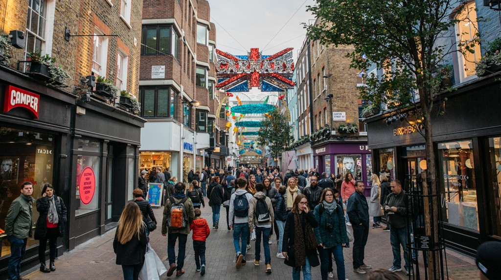 Carnaby Street is one of London's main entertainment thoroughfares