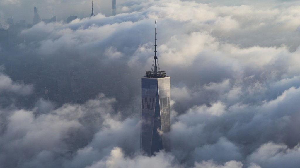 One World Trade Center rises above the clouds