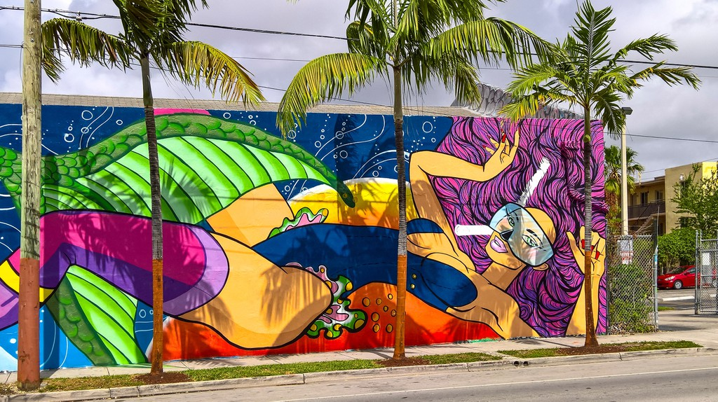 The Wynwood Art District in Miami offers visitors a vibrant display of street art