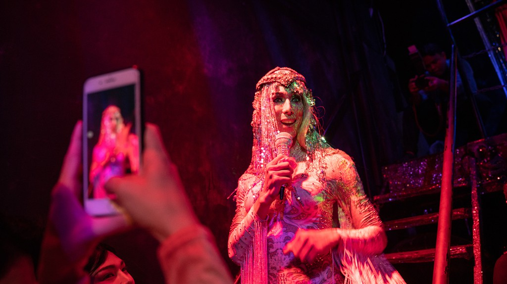 A performer takes the stage at Stranger Bar