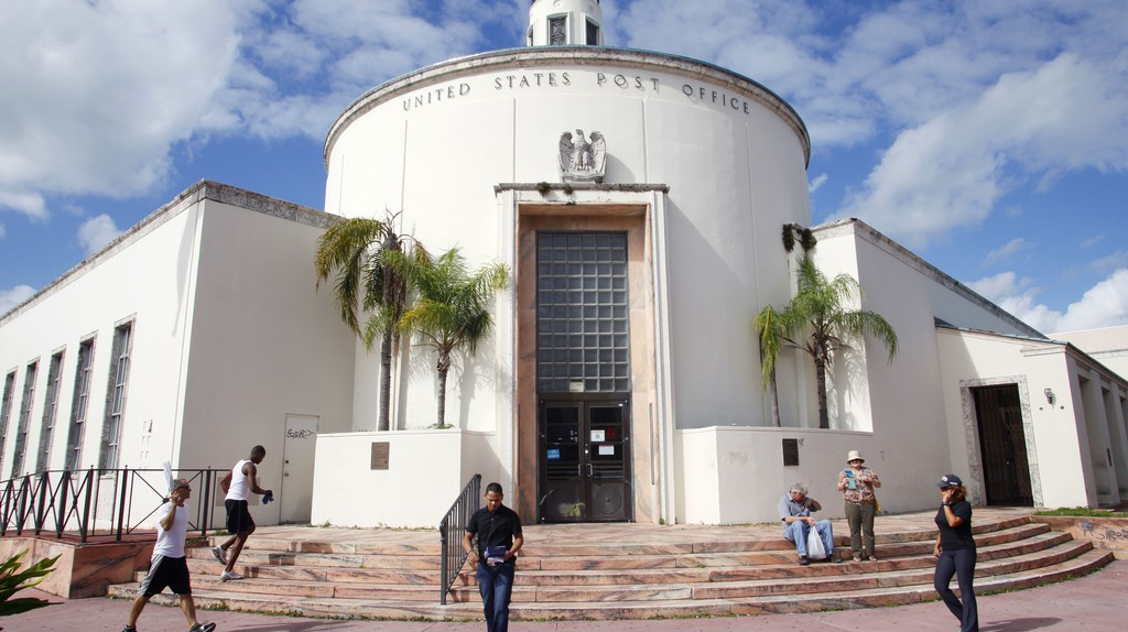 The Miami Beach Post Office is a well-preserved example of Depression Moderne architecture