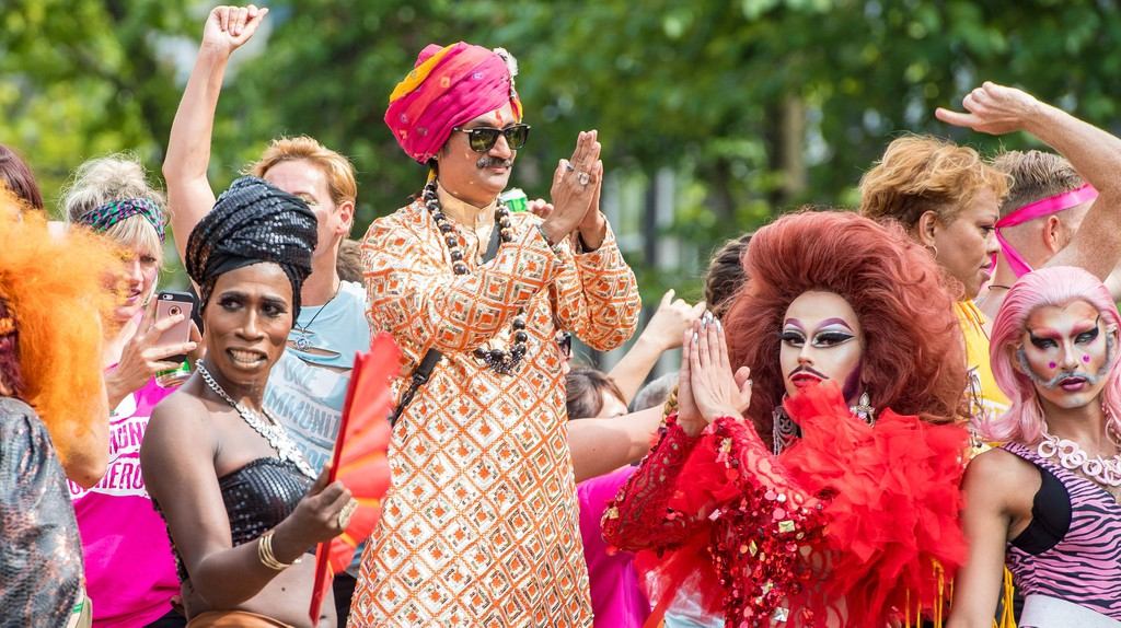 Prince Manvendra Singh Gohil during the Canal Parade through the Canals of Amsterdam, during the Gay Pride