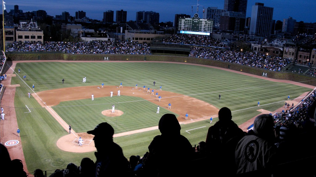 Fans take in a game at Wrigley Field