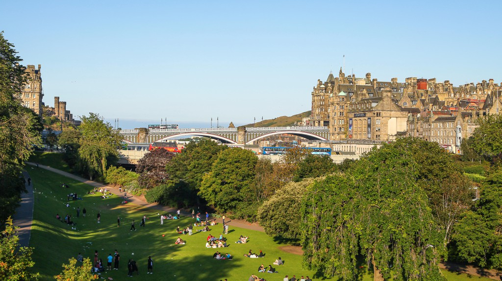 Princess Street Gardens and historic Edinburgh on a summer's day