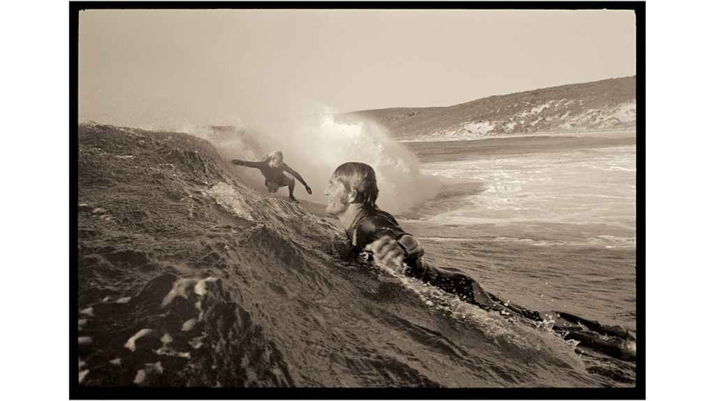 Nigel Coates and Murray Smith surf at Smiths Beach, in Western Australia, in 1972