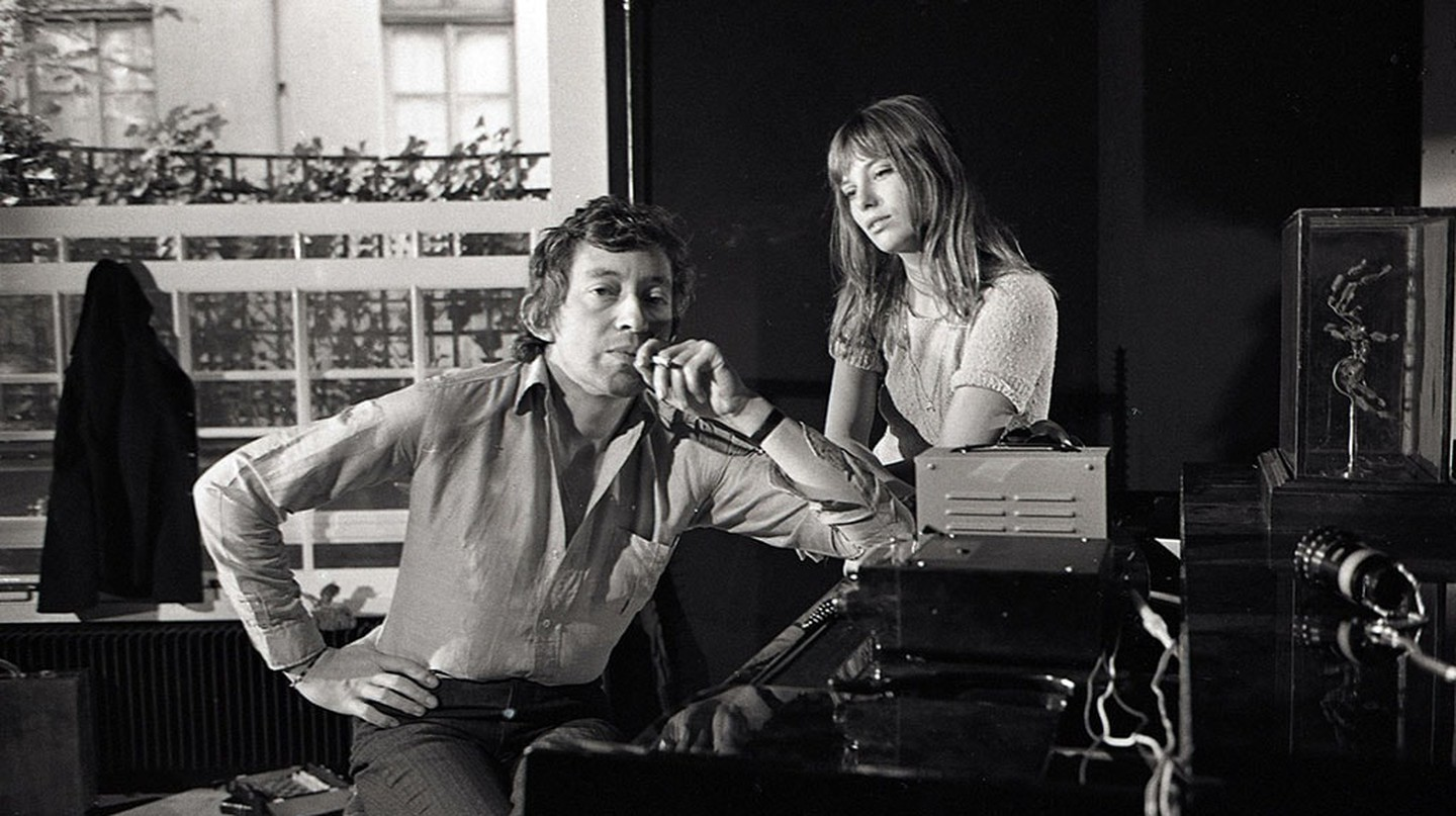 Serge Gainsbourg (1928-1991) and Jane Birkin (1946-) around a piano. Photography by Kelaidites circa 1969 Art - various