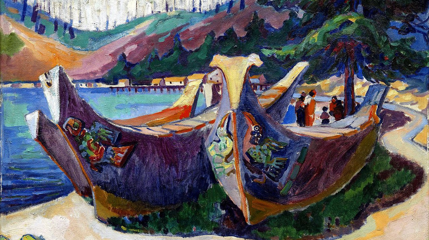 Emil Carr, First Nations War Canoes in Alert Bay, 1912 © the artist, courtesy Wiki Commons