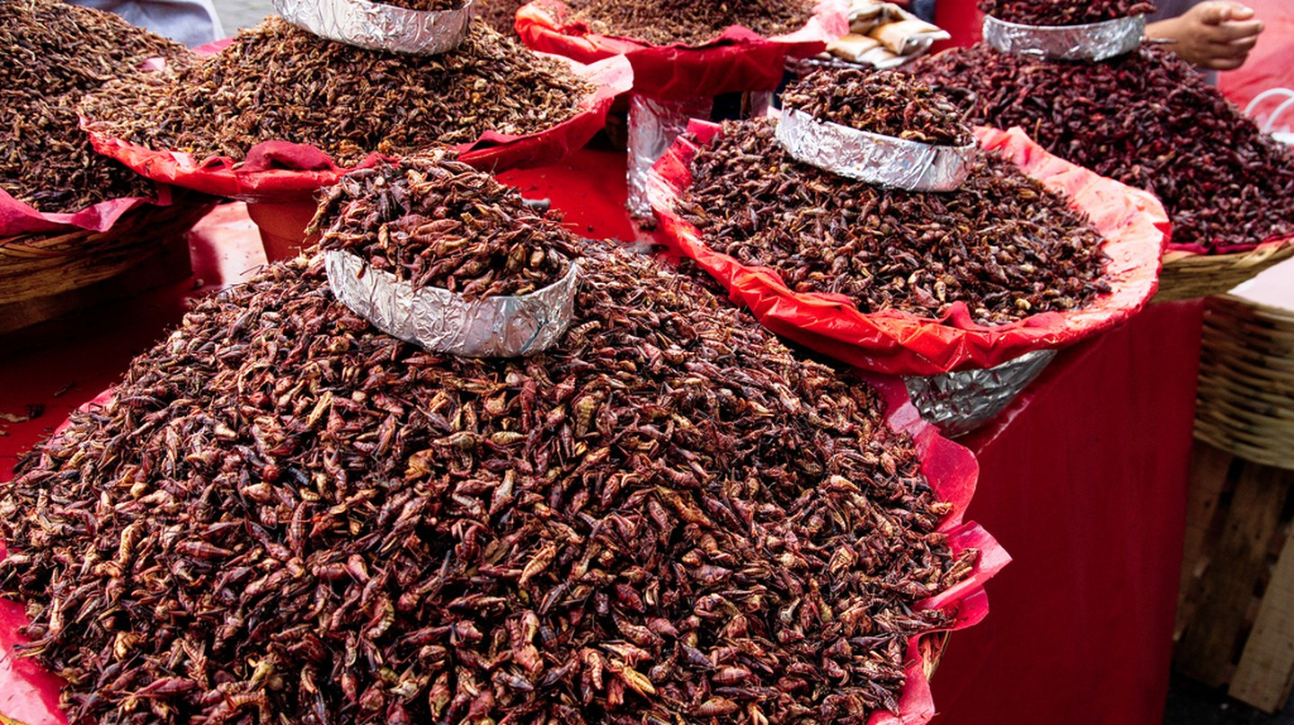 Chapulines in a Mexican market