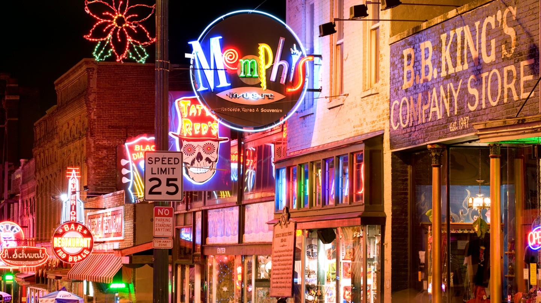 Famous blues clubs on historical Beale street ©Natalia Bratslavsky / Shutterstock